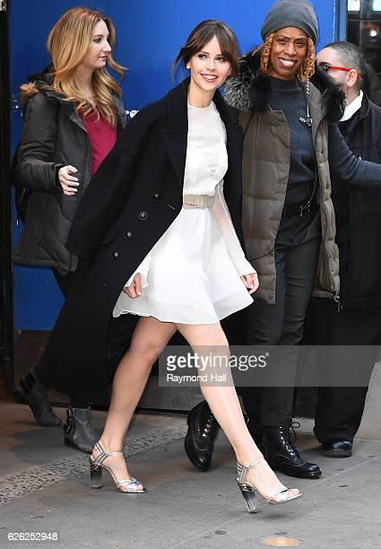 Actress Felicty Jones is seen outside Good Morning America on November 28, 2016 in New York City.