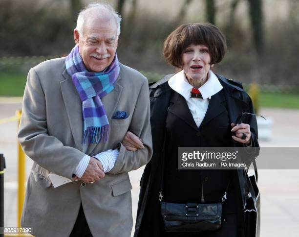 Actress Fenella Fielding and guest arrive at The Stables in Milton Keynes for the Sir John Dankworth Memorial service following his funeral today