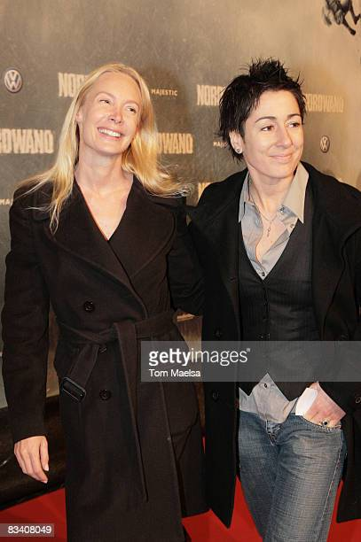 """Actress Feo Aladag and TV presenter Dunja Hayali attend the Berlin premiere of """"Nordwand"""" at the CineStar on October 23, 2008 in Berlin, Germany."""