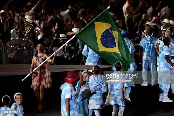Actress Fernanda Lima during the Opening Ceremony of the Rio 2016 Paralympic Games at Maracana Stadium on September 7 2016 in Rio de Janeiro Brazil