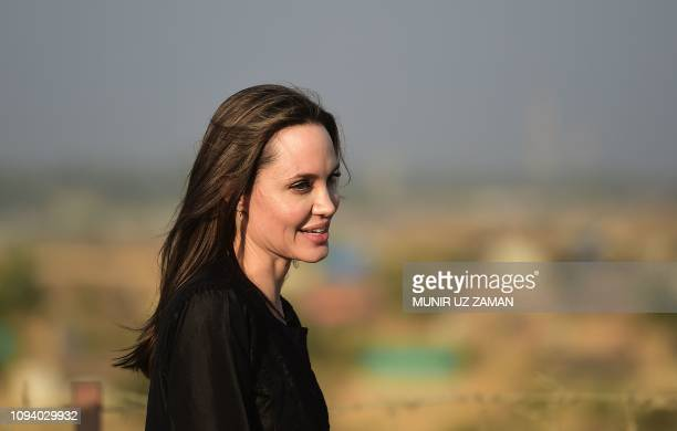 US actress filmmaker and humanitarian Angelina Jolie a special envoy for the United Nations High Commissioner for Refugees addresses a press...