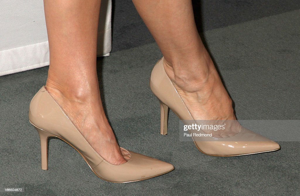 Actress Finola Hughes (shoe detail) arrives at The Paley Center For Media Presents 'General Hospital: Celebrating 50 Years And Looking Forward' at The Paley Center for Media on April 12, 2013 in Beverly Hills, California.