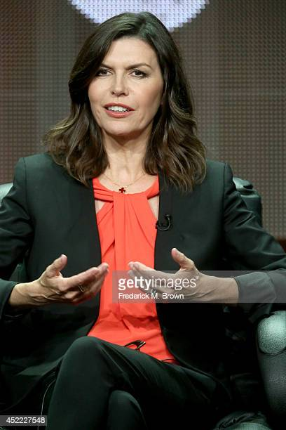 Actress Finola Hughes speaks onstage at the 'Granite Flats' panel during the BYUtv Network portion of the 2014 Summer Television Critics Association...
