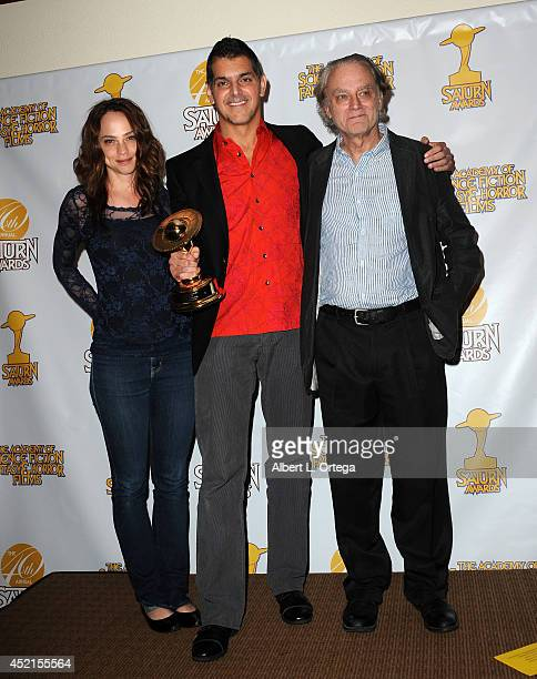 Actress Fiona Dourif director Don Mancini and actor Brad Dourif accept the award for Best DVD Collection for 'Chucky The Complete Collection' at the...