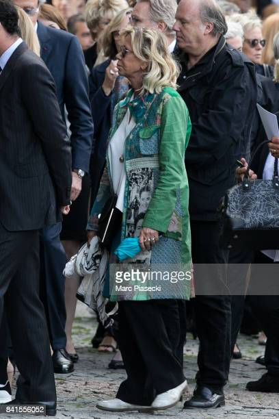 Actress Fiona Gelin attends actress Mireille Darc's Funerals at Eglise SaintSulpice on September 1 2017 in Paris France