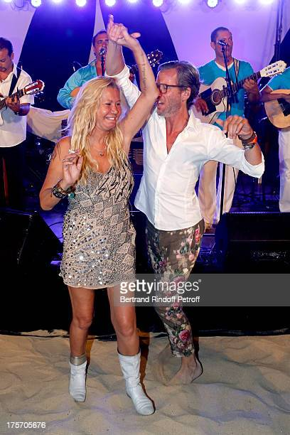 Actress Fiona Gelin dancing at President of the Union of Showmen Marcel Campion's Party at 'La Bouillabaisse' beach on August 6 2013 in SaintTropez...