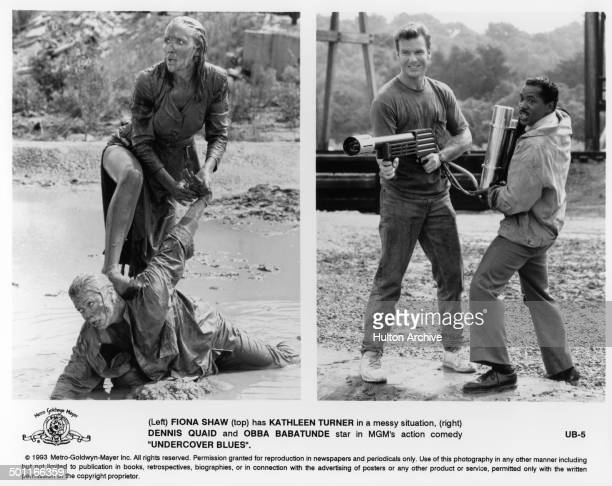 Actress Fiona Shaw grabs Kathleen Turner in a scene Dennis Quaid holds a gun with Obba Babatundé in the MGM movie Undercover Blues circa 1993