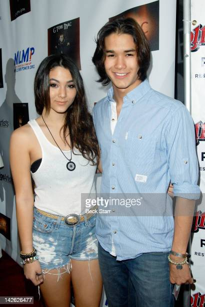 Actress Fivel Stewart and actor Boo Boo Stewart attend G Tom Mac CD release party for Untame The Songs at Rolling Stone Restaurant Lounge on April 9...