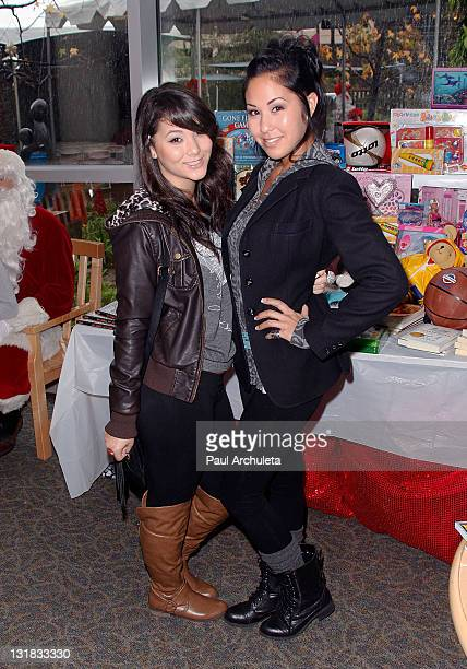 Actress Fivel Stewart and her sister Meagan Stewart arrive at the Britticares blood drive at The Children's Hospital Los Angeles on December 18 2010...