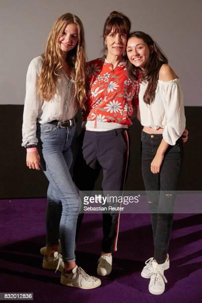 Actress Flora Li Thiemann director Ute Wieland and actress Emily Kusche attend the 'Tigermilch' premiere at Kino in der Kulturbrauerei on August 15...