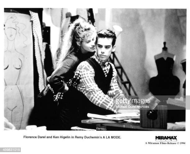 Actress Florence Darel and actor Ken Higelin on set of the movie 'A la mode' circa 1993