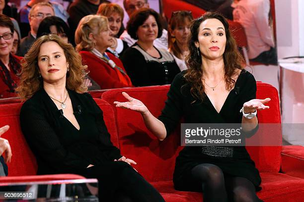 Actress Florence Darel and Autor of the Piece Isabelle Le Nouvel present the Theater Play Le Syndrome de l'Ecossais performed at 'Theatre des...
