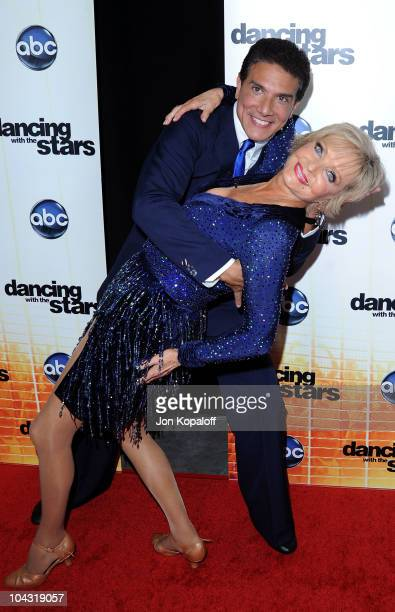 Actress Florence Henderson and dance partner Corky Ballas pose at Dancing With The Stars Season Premiere at CBS Studios on September 20 2010 in Los...
