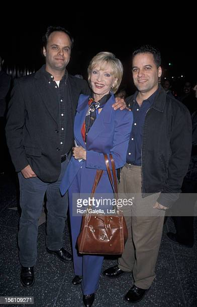 Actress Florence Henderson and sons Robert Bernstein and Joseph Bernstein attending the premiere of 'Late Last Night' on October 27 1998 at Mann...