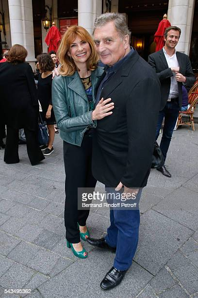 Actress Florence Pernel and her husband Patrick Rotman attend Du vent dans les branches de Sassafras Theater Play Live on France 2 TV Chanel Held at...