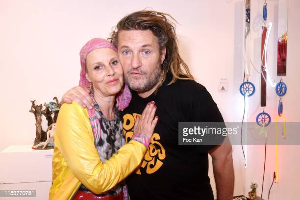 Actress Florence Thomassin and her brother Europe 1 journalist Olivier Delacroix attend Arnaud Giovaninetti Soleil Noir by Caroline Constant book...