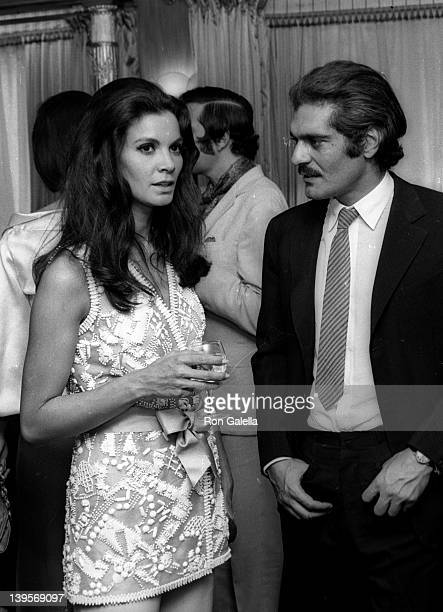 Actress Florinda Bolkan and actor Omar Sharif attend the premiere party for The Last Valley on August 14 1969 at the Dorchester Hotel in London...