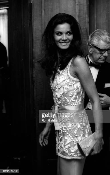 Actress Florinda Bolkan attends the premiere party for The Last Valley on August 14 1969 at the Dorchester Hotel in London England