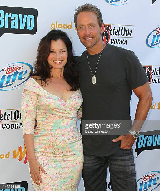 Actress Fran Drescher and writer Peter Marc Jacobson attend GLAAD's 'Bravo Top Chef Invasion' benefit event at a private residence on July 29 2012 in...