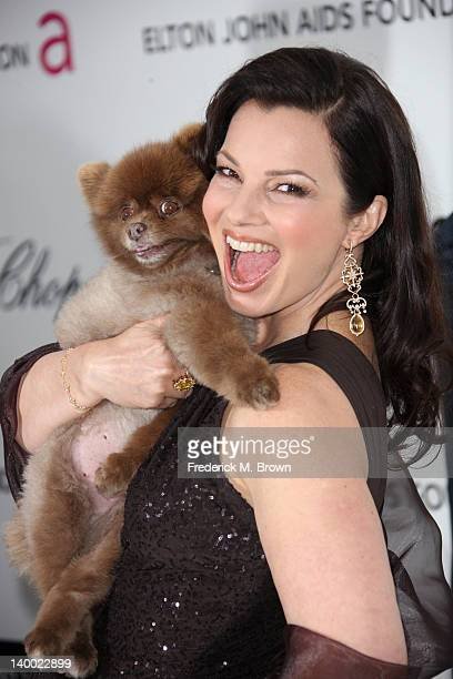 Actress Fran Drescher arrives at the 20th Annual Elton John AIDS Foundation's Oscar Viewing Party held at West Hollywood Park on February 26, 2012 in...