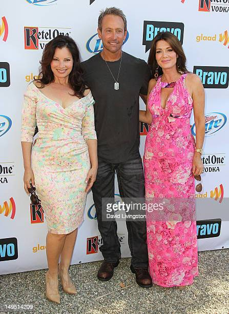 Actress Fran Drescher writer Peter Marc Jacobson and TV personality Lisa Vanderpump attend GLAAD's 'Bravo Top Chef Invasion' benefit event at a...