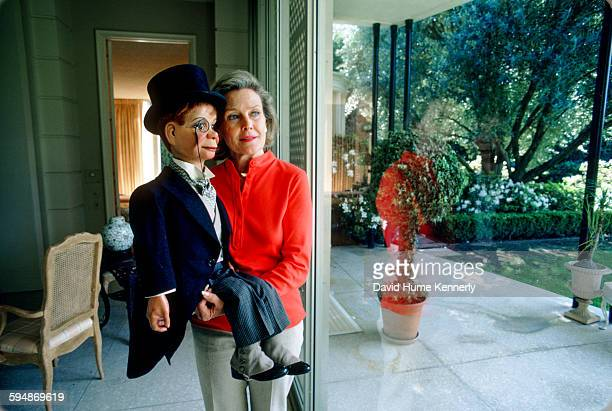 Actress Frances Bergen whose late husband was the ventriloquist Edgar Bergen poses with his character Charlie McCarthy March 1980