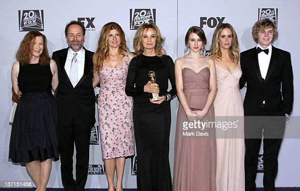 Actress Frances Conroy FX president John Landgraf actors Connie Britton Jessica Lange Taissa Farmiga Sarah Paulson and Evan Peters arrive at NBC...