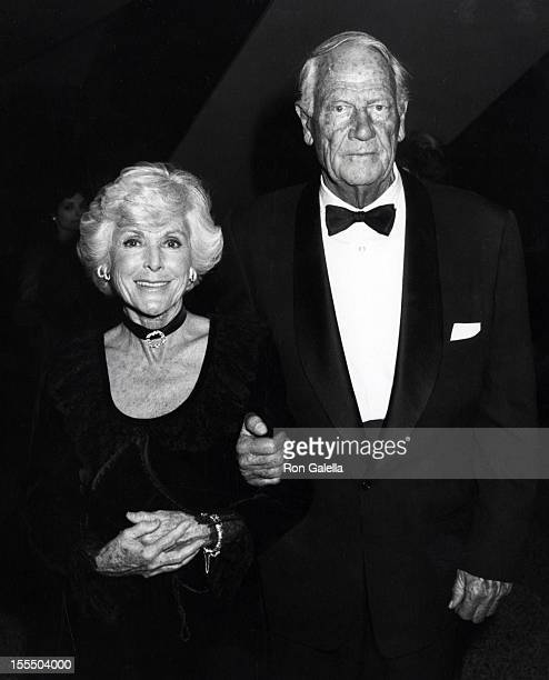 Actress Frances Dee and actor Joel McCrae attend Night of 100 Stars Benefit Gala on February 14 1982 at the Beverly Hilton Hotel in Beverly Hills...