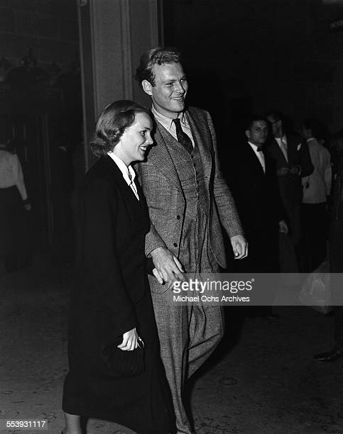 Actress Frances Farmer and husband Leif Erickson attend an event in Los Angeles California