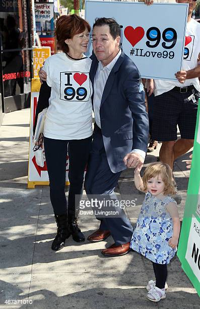 Actress Frances Fisher actor French Stewart and his daughter Helene Claire Stewart attend AEA actors picketing their own union over the proposal to...
