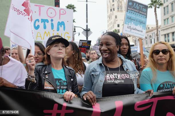 Actress Frances Fisher and activist and #MeToo campaign founder Tarana Burke participate in the Take Back The Workplace March and #MeToo Survivors...