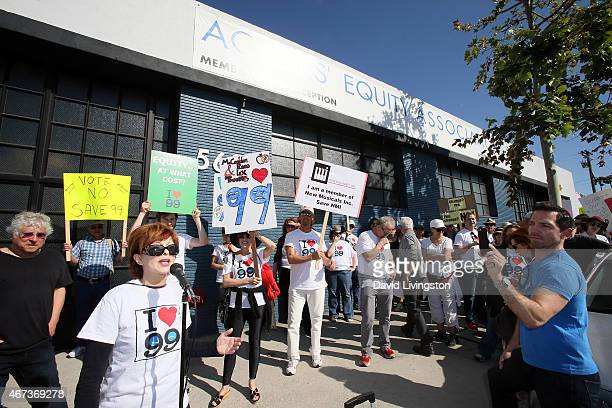 Actress Frances Fisher at microphone attends AEA actors picketing their own union over the proposal to end the 99seat theater plan in Los Angeles on...