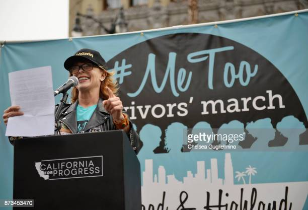 Actress Frances Fisher speaks at the #MeToo Survivors March Rally on November 12 2017 in Hollywood California