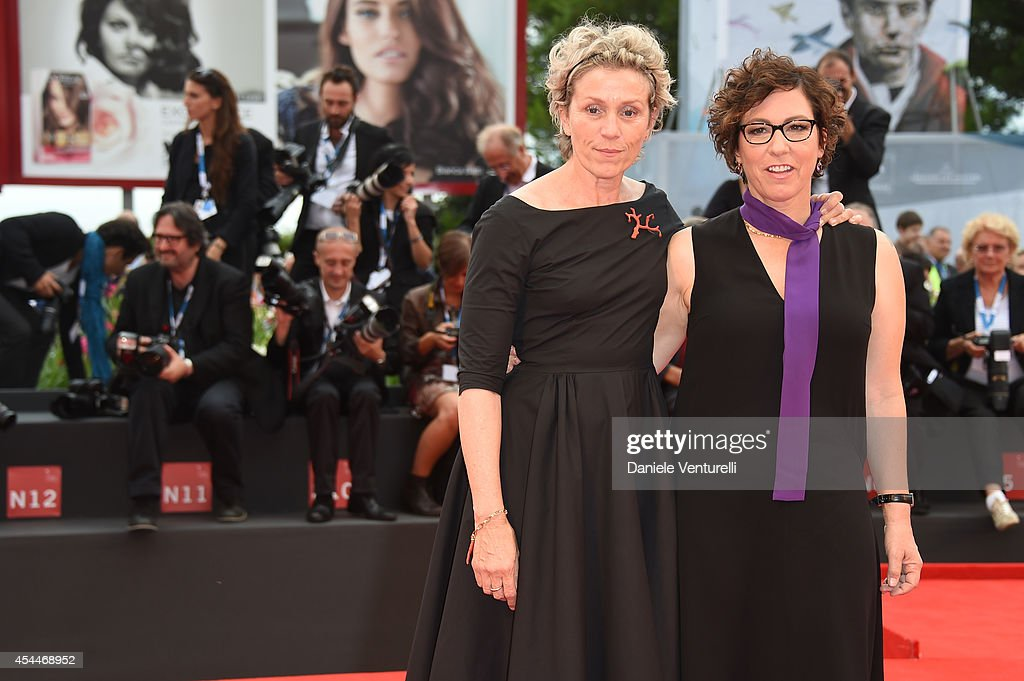 Actress Frances McDormand (L) and director Lisa Cholodenko attend the 'Olive Kitteridge Parts 1-2' premiere during the 71st Venice Film Festival at Sala Grande on September 1, 2014 in Venice, Italy.