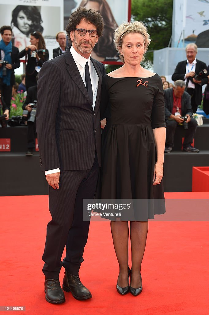 Actress Frances McDormand and husband director Joel Coen attend the 'Olive Kitteridge Parts 1-2' premiere during the 71st Venice Film Festival at Sala Grande on September 1, 2014 in Venice, Italy.
