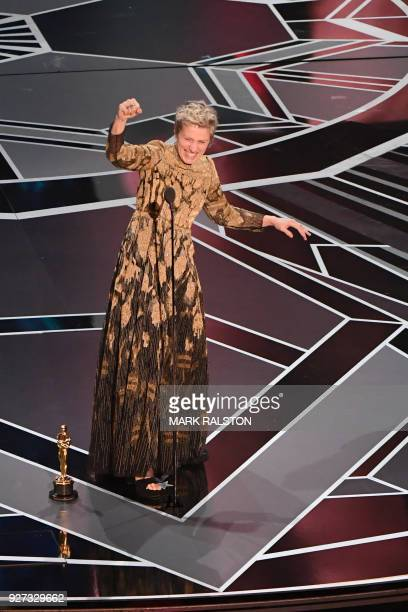 US actress Frances McDormand celebrates after she won the Oscar for Best Actress in Three Billboards outside Ebbing Missouri during the 90th Annual...