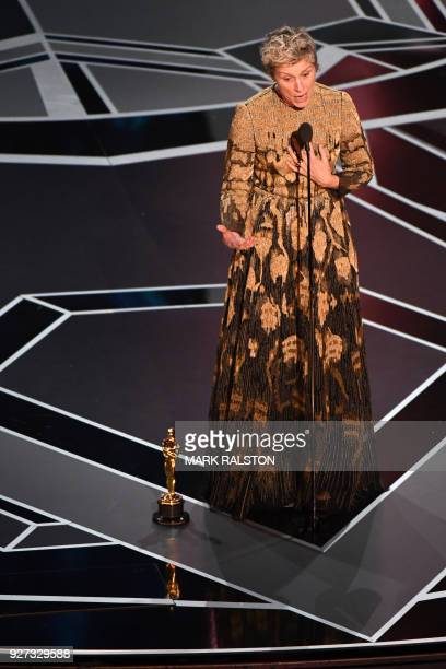US actress Frances McDormand delivers a speech after she won the Oscar for Best Actress in 'Three Billboards outside Ebbing Missouri' during the 90th...