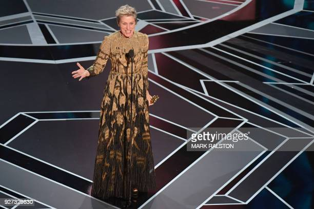 TOPSHOT US actress Frances McDormand delivers a speech after she won the Oscar for Best Actress in 'Three Billboards outside Ebbing Missouri' during...