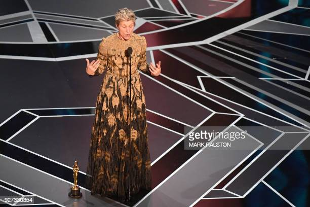 US actress Frances McDormand delivers a speech after she won the Oscar for Best Actress in Three Billboards outside Ebbing Missouri during the 90th...