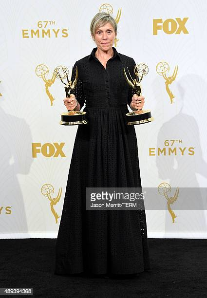 Actress Frances McDormand winner of Outstanding Lead Actress in a Limited Series or Movie and Outstanding Limited Series for 'Olive Kitteridge' poses...