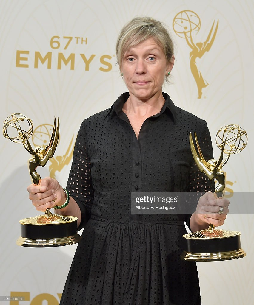 Actress Frances McDormand, winner of Outstanding Lead Actress in a Limited Series or Movie for 'Olive Kitteridge', poses in the press room at the 67th Annual Primetime Emmy Awards at Microsoft Theater on September 20, 2015 in Los Angeles, California.