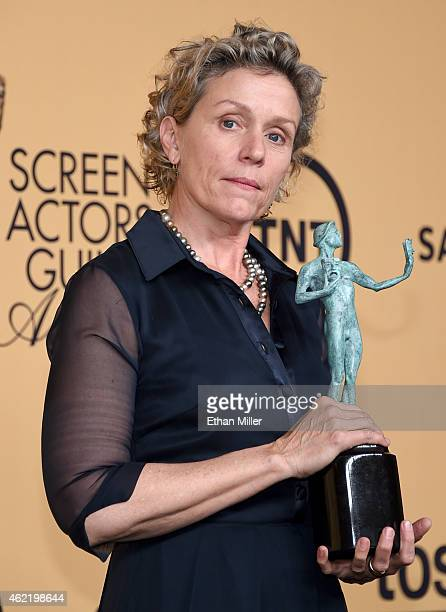 Actress Frances McDormand winner of Outstanding Performance by a Female Actor in a Miniseries or Television Movie for 'Olive Kitteridge' poses in the...