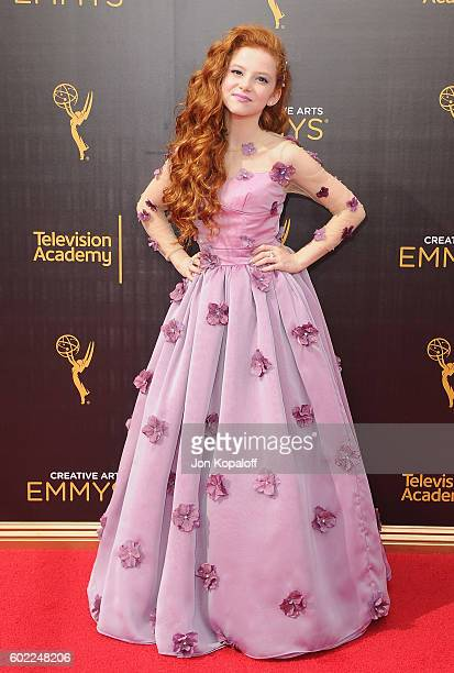 Actress Francesca Capaldi arrives at the 2016 Creative Arts Emmy Awards at Microsoft Theater on September 10 2016 in Los Angeles California