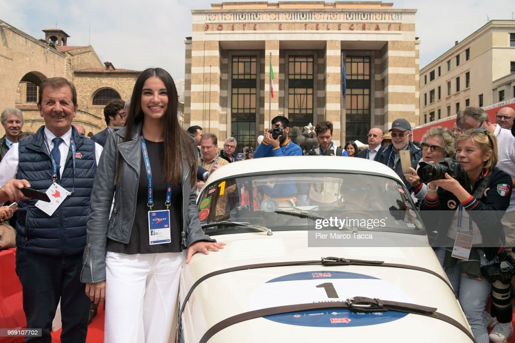 Actress Francesca Chiillemi attends the 1000 Miles Historic Road Race on May 16, 2018 in Brescia, Italy. (Photo by Pier Marco Tacca/Getty Images).