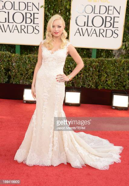 Actress Francesca Eastwood arrives at the 70th Annual Golden Globe Awards held at The Beverly Hilton Hotel on January 13 2013 in Beverly Hills...
