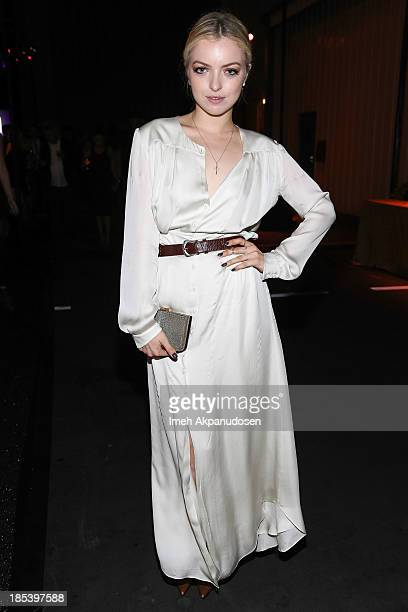 Actress Francesca Eastwood attends FIJI Water at the 9th Annual Pink Party Benefiting The CedarsSinai Women's Cancer Program at HANGAR8 on October 19...
