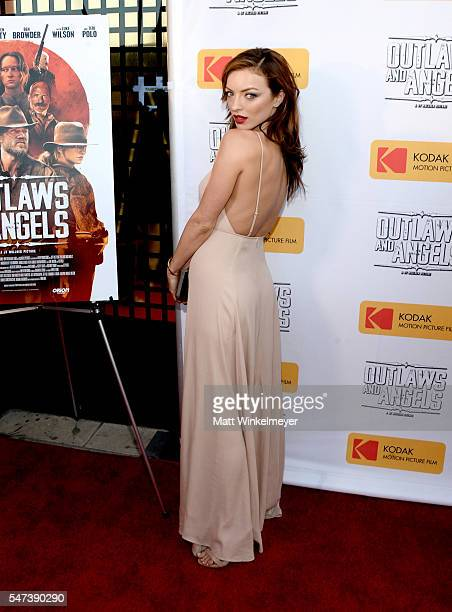 Actress Francesca Eastwood attends the premiere of Momentum Pictures' Outlaws And Angels at Ahrya Fine Arts Movie Theater on July 12 2016 in Beverly...
