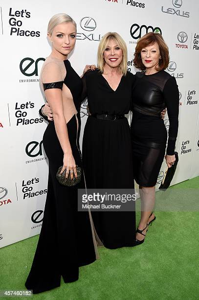 Actress Francesca Eastwood EMA President Debbie Levin and actress Frances Fisher attend the 24th Annual Environmental Media Awards presented by...