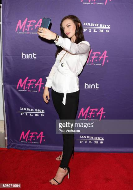 Actress Francesca Eastwood Selfie Detail attends the premiere of Dark Sky Films' 'MFA' at The London West Hollywood on October 2 2017 in West...