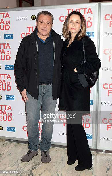 Actress Francesca Neri and husband actor Claudio Amendola attend 'Tutta colpa di Freud' premiere at Teatro dell'Opera on January 20 2014 in Rome Italy